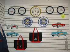 Various vintage and Route 66 clocks at the Springfield Royal Diner Gift Shop