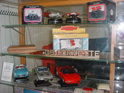 Vintage car models and variou souvenirs at the Springfield Royal Diner Gift Shop